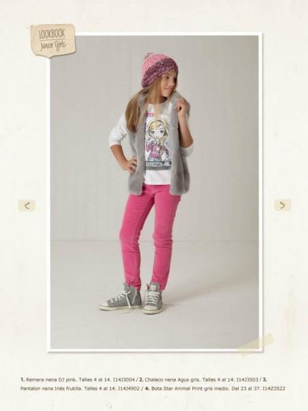 chaleco gris y pantalon rosa Mimo co otoño invierno 2014