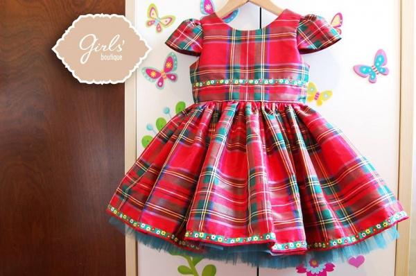 vestido para niñas escoces rojo Girls boutique Diseños invierno 2014
