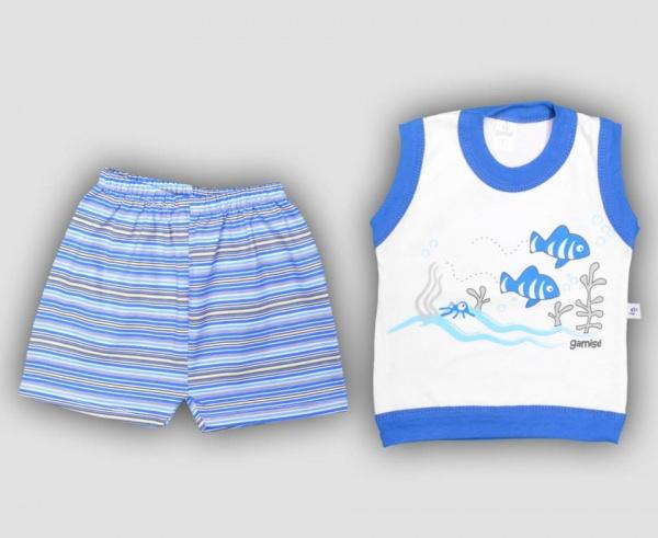 conjunto blanco y azul bebe nene primavera verano 2015 Gamise