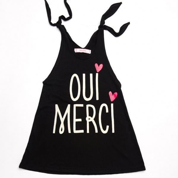 vestido nena negro con frase Queen Juana primavera verano 2015