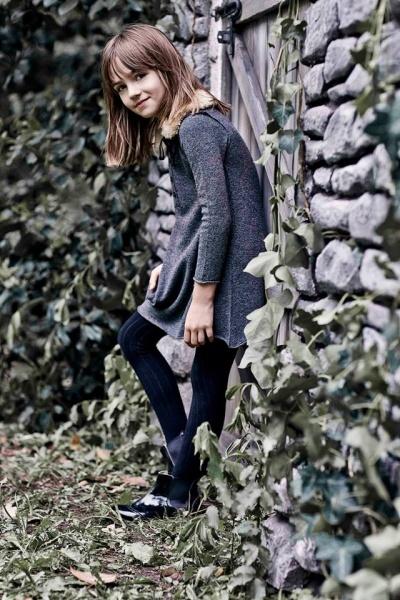 vestido gris mangas largas nena Paula Cahen D Anvers Niños  otoño invierno 2015