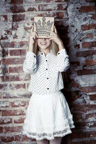 camisa a lunares y pollera - Mapamondo invierno 2015