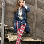 camisa jeans calza escocesa para nenas Pioppa Moda infantil invierno 2015
