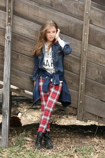 camisa jeans calza escocesa para nenas Pioppa - Moda infantil invierno 2015