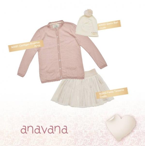 pollera color crudo y cardigans rosa para niñas invierno 2015 - ANAVANA