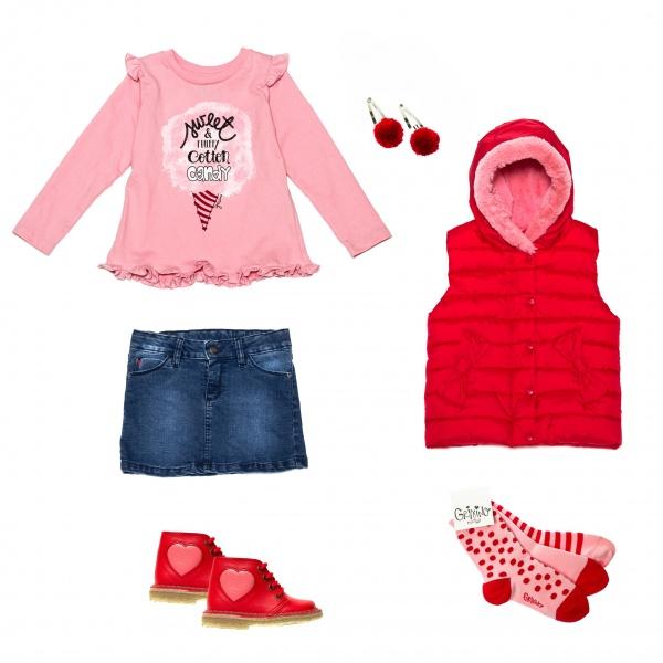 pollera de jeans remera y chaleco Grisino nenas invierno 2015