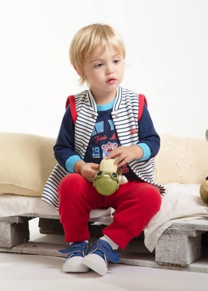 remera pantalon y chaleco para nenes Payasin invierno 2015