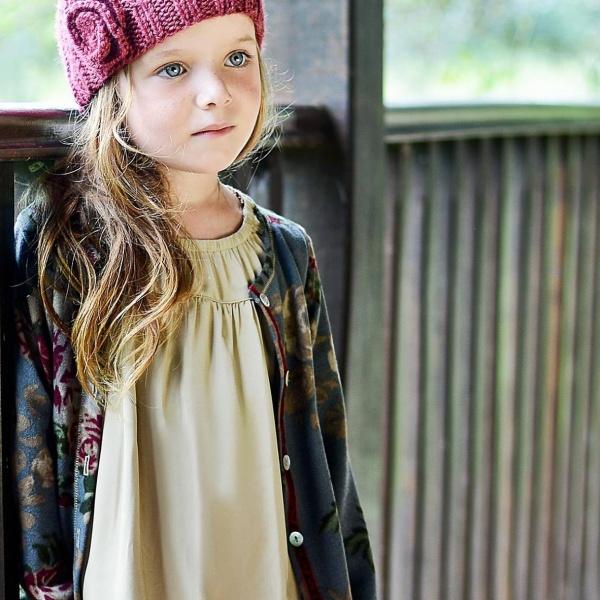 vestido color crudo y campera estampada para niñas invierno 2015 ANAVANA