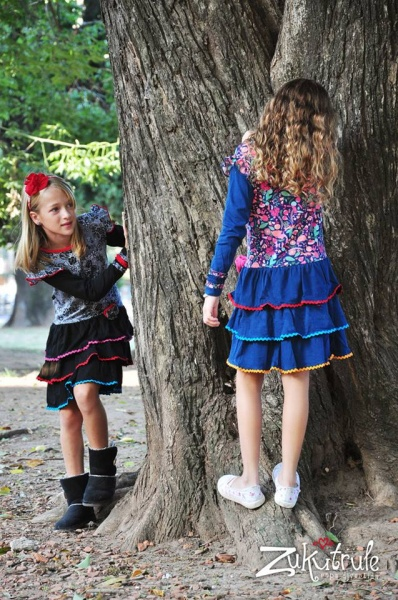 vestido  con volados mangas largas nenas otoño invierno 2015 - Zukutrule