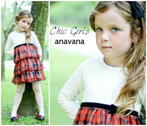 vestido mangas largas escoses para niñas invierno 2015 - ANAVANA