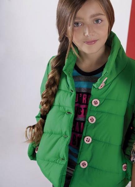 camperon verde para nenas otoño invierno 2015 - B WAY