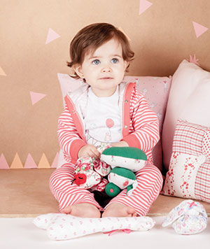 ab4eeb6b3 conjunto a rayas para bebe nena Naranjo otoño invierno 2015