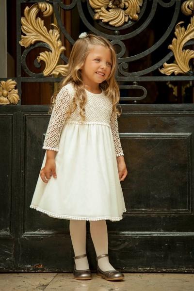 vestido blanco mangas larga para niñas - Magdalena Esposito otoño invierno 2015