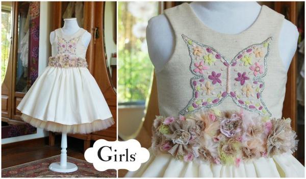 vestido bordado con mariposas  para nenas otoño invierno 2015 - Girls boutique