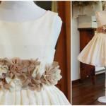 vestido color manteca con flores para nenas otoño invierno 2015 Girls boutique