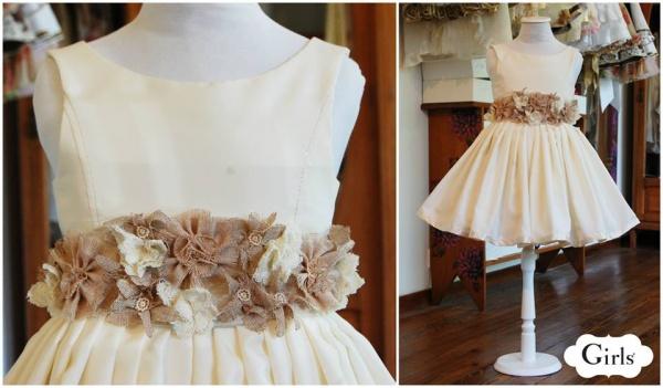 vestido color manteca con flores  para nenas otoño invierno 2015 - Girls boutique