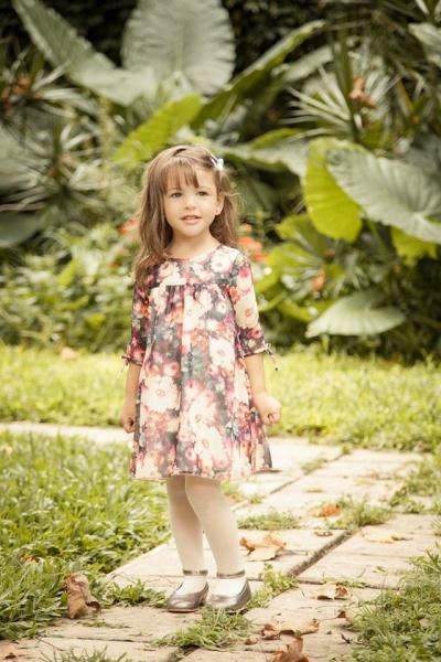 vestido floreado para nenas mangas largas  - Magdalena Esposito otoño invierno 2015
