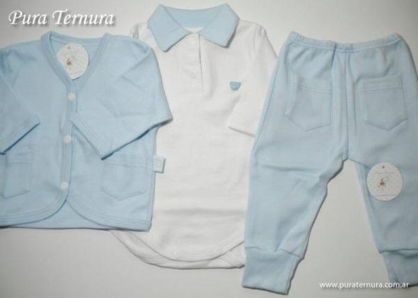 conjunto bebe celeste y blanco - Pura Ternura - ropa bebe invierno 2015