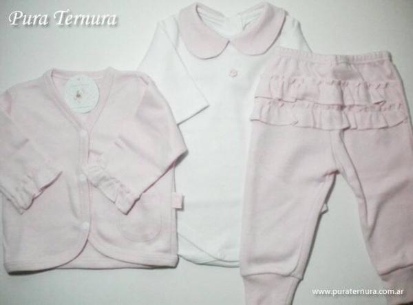 conjunto bebe rosado y blanco - Pura Ternura - ropa bebe invierno 2015