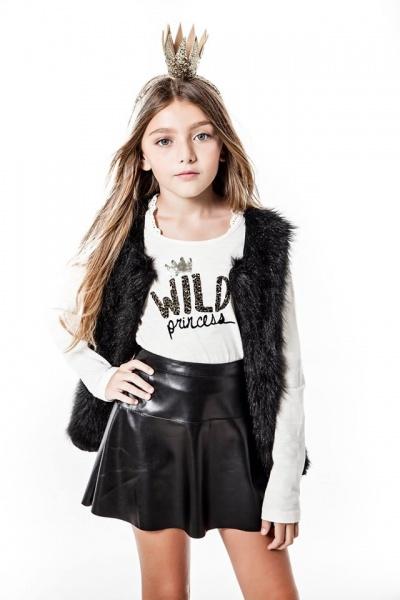 So Cippo - pollera simil cuero para nenas otoño invierno 2015