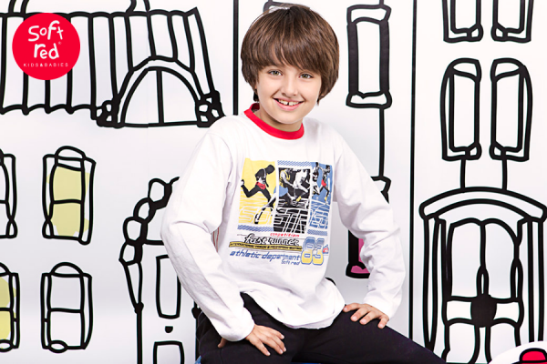 remera estampada para nenes  invierno 2015 - Soft Red