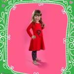 Bluma vestido rojo para nena con calza estampada invierno 2015
