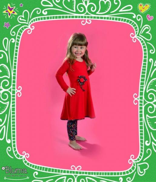 Bluma - vestido rojo para nena con calza estampada invierno 2015