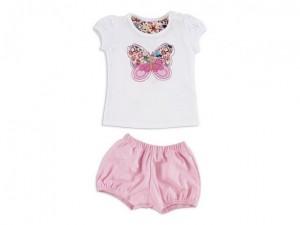 Ruabel conjunto para beba verano 2016 short rosa y remera mariposa