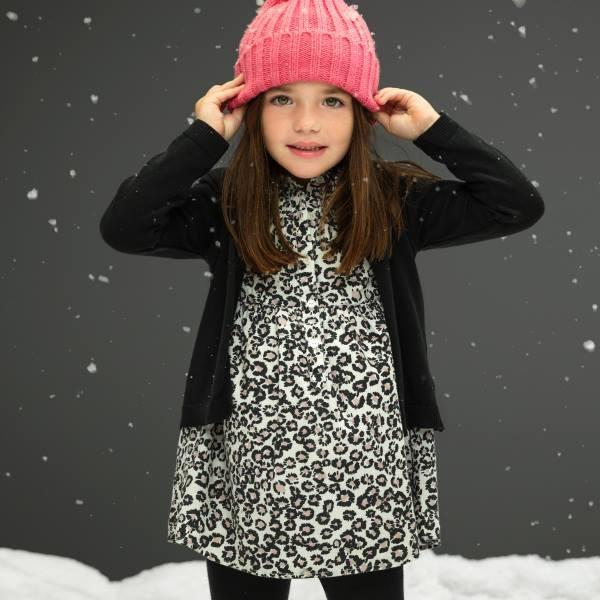 vestido animal print y cardigans niña  - Cheeky invierno 2016