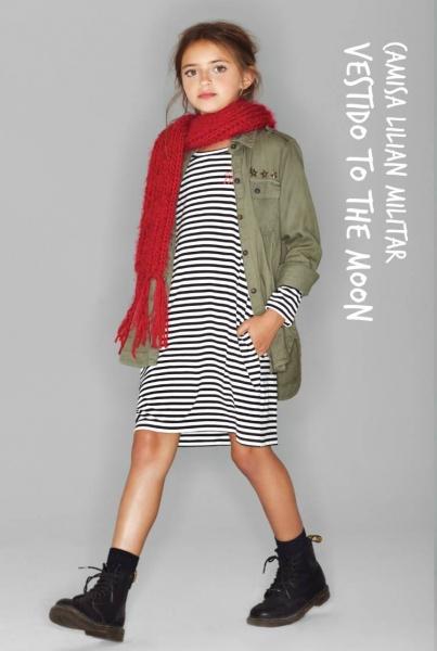vestido mangas largas a rayas nena - Kosiuko Kids invierno 2016