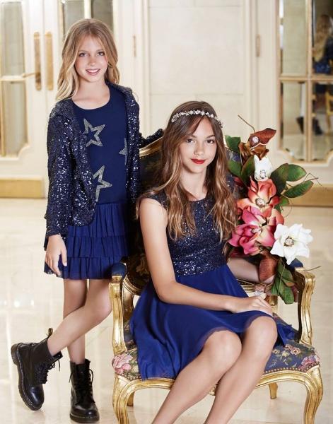 Vestido azul con mangas para nena invierno 2016 - Mapamondo