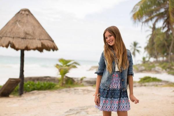campera de jeans y vestido estampado nena verano 2017 - MIMO CO