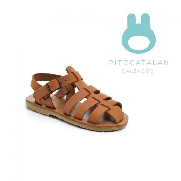 sandalias color suerla para bebes verano 2018 - Pitocatalan