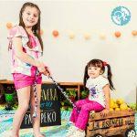 blusa con volado en escote pantalon estampa estrella niñas Pako Peko primavera verano 2018 1
