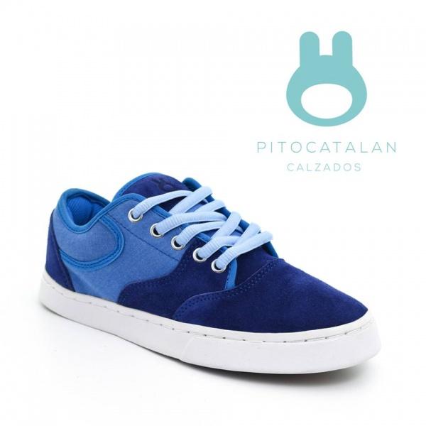 zapatilla gamuzada azul Pitocatalan calzado para chicos primavera verano 2018