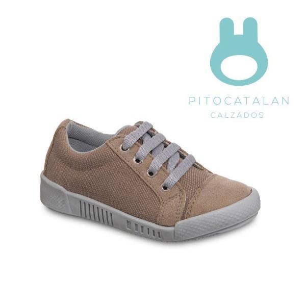 zapatillas de lona beige Pitocatalan calzado para chicos primavera verano 2018