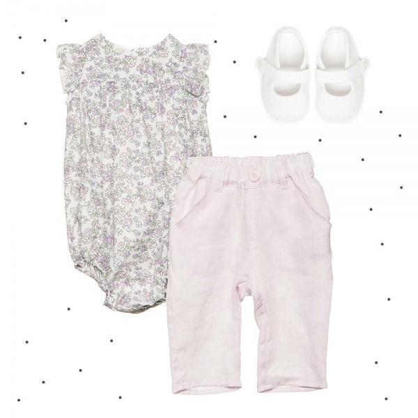 boby floreado con voladitos en mangas y pantalon rosa Broer verano 2018