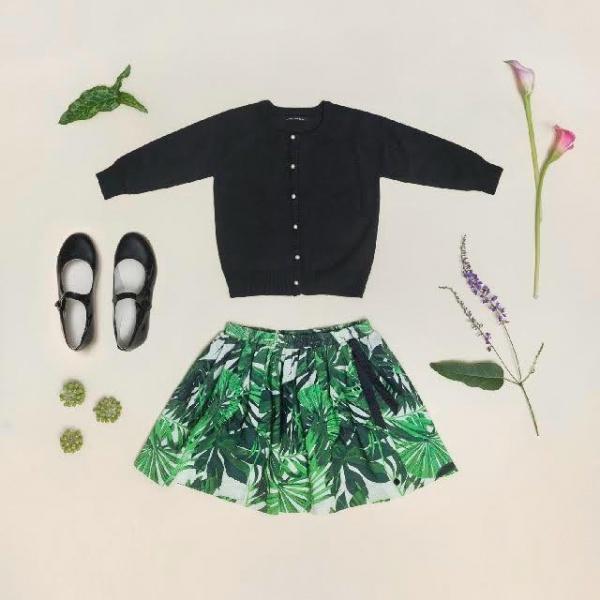 falda estampada plisada para nena verano 2018 Little Akiabara