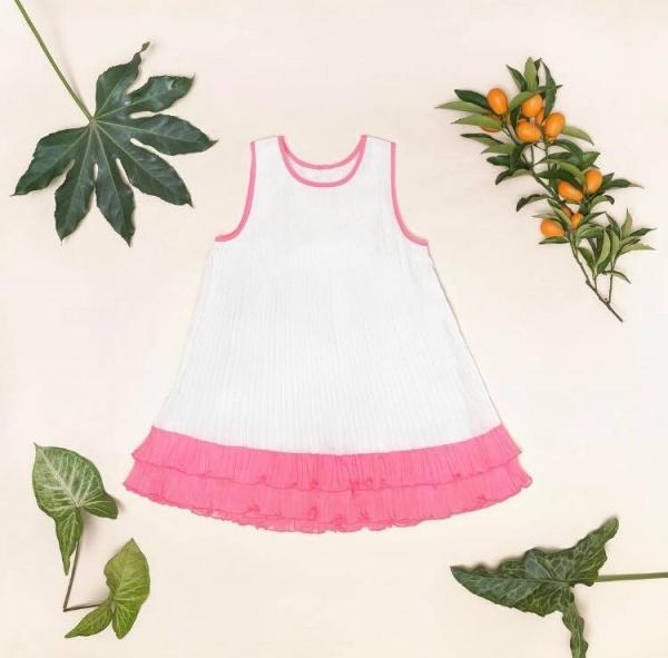vestido para nena blanco y rosado verano 2018 Little Akiabara