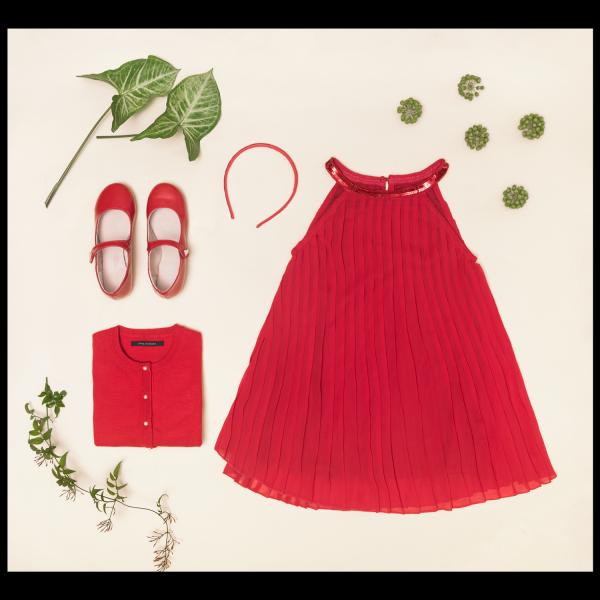 vestido rojo para fiestas de nena verano 2018 Little Akiabara