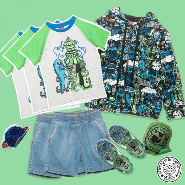 conjunto estampa moustros Grisino ropa infantil verano 2018
