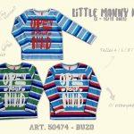 remeras mangas largas para niños a rayas little manny otoño invierno 2018