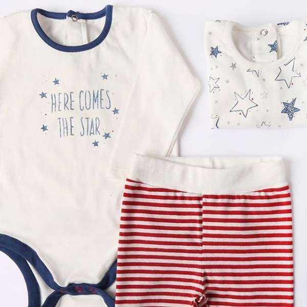 body bebe y pantalon a rayas linea star bebe cheeky otoño invierno 2018