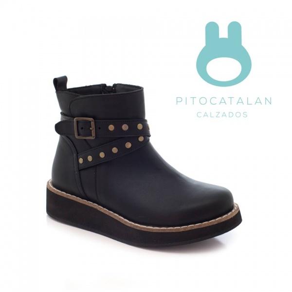 bota negra cuero niña Pitocatalan otoño invierno 2018