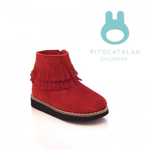 bota roja gamuzada flecos niña Pitocatalan otoño invierno 2018