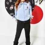 camisa niña con aplique y jeans negro kosiuko kids otoño invierno 2018
