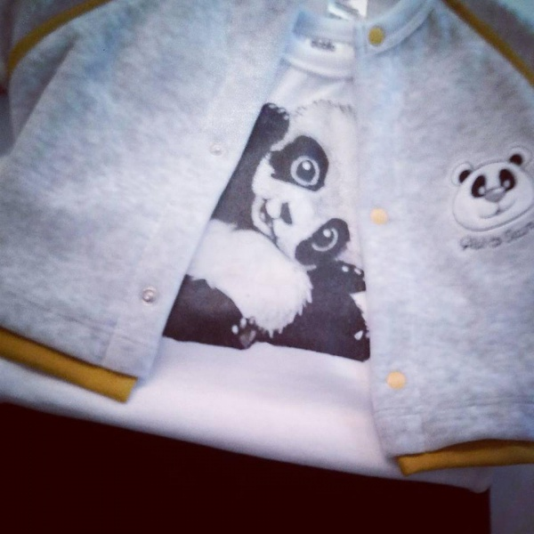 campera y remera panda bebe globito otoño invierno 2018