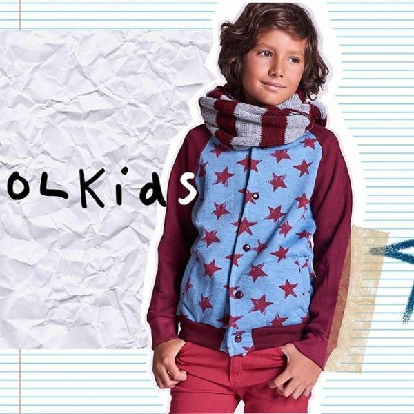 cardigan aldogon frizado jeans color y bufanda nenes otoño invierno 2018