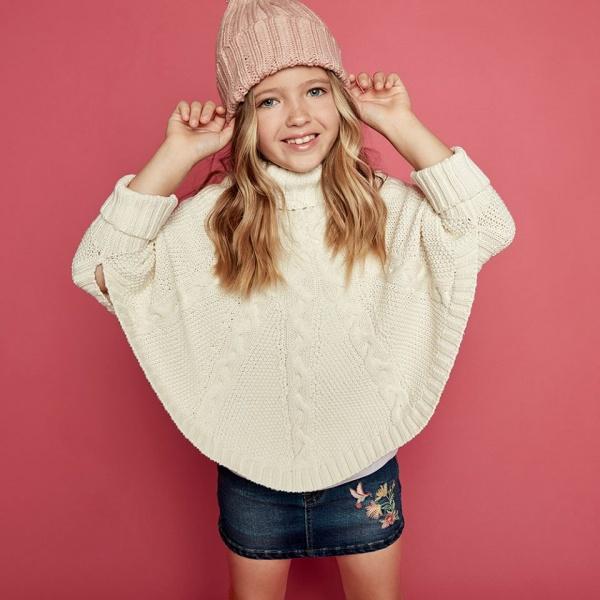 poncho tejido niña cheeky otoño invierno 2018