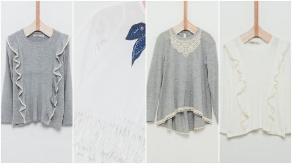 remeras y camisolas puntilla encaje y flecos para niñas Wanama Boys Girls otoño invierno 2018